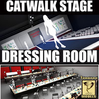 3d model catwalk dressing room scene