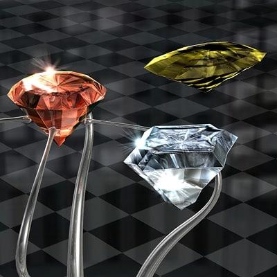 c4d diamonds ruby sapphire