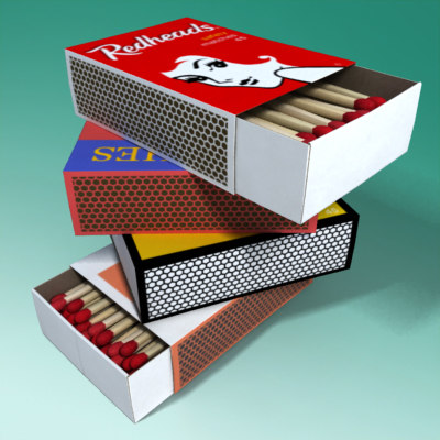 3d box matches matchbox model