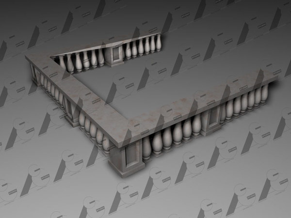 3d model classical balcony