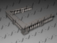 3d model classical balcony