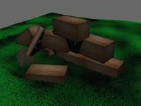 3d scene bricks model