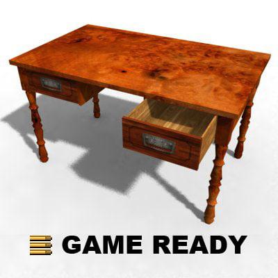 old wooden desk table 3d 3ds