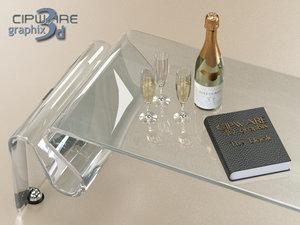 3d model italian design glass table