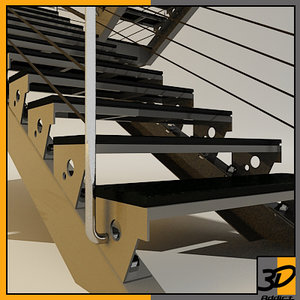 3d model steel structure stairs