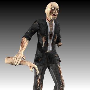 3d zombie walk animation model