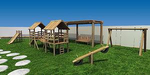 3ds wooden playground