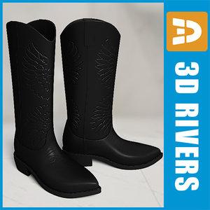 3d black western boots model