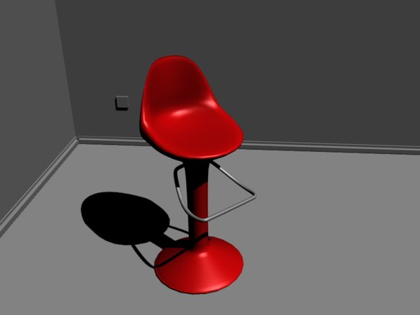 free 3ds model modern red stool