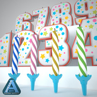 3ds max birthday cake candles set