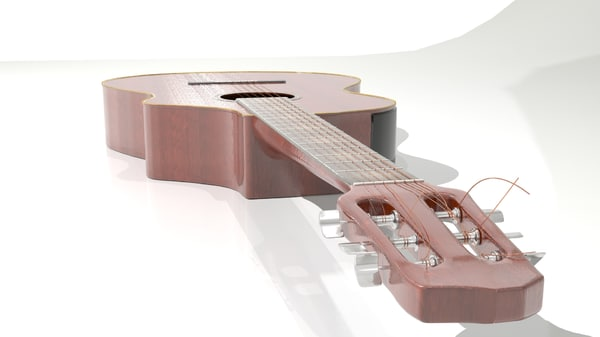 guitar acoustic strings 3d model