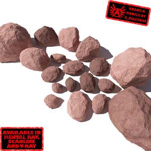 lot rocks stones - 3d max
