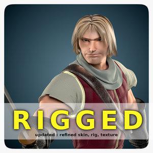medieval warrior man 3d model
