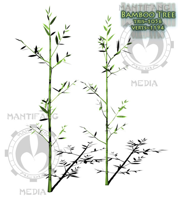 3d model bamboo tree pack