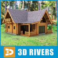 log cabin home building 3d 3ds