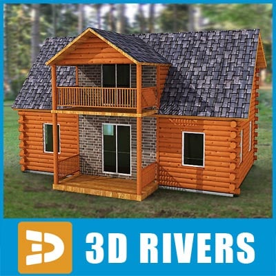 3ds log cabin home building