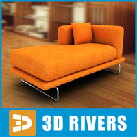 Orange longue couch by 3DRivers