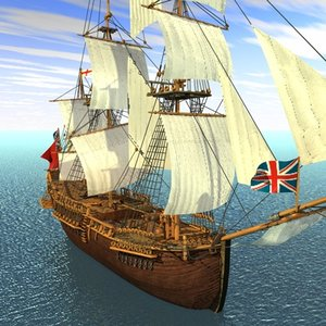 endeavour ship sailed 3d model