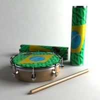 brasil tambourine 3d model