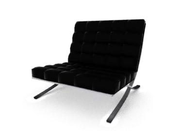 3d model barcelona chair