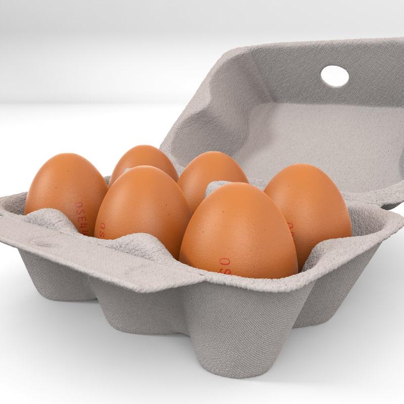 3d model box eggs carton