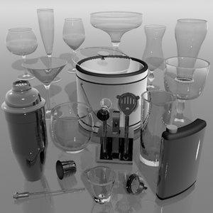 bar glasses cocktail 3d model