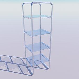3d glass chrome shelving unit