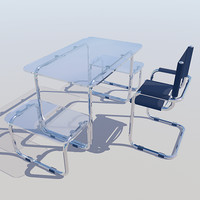 3ds max chrome glass computer desk