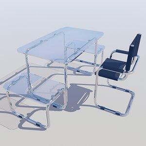 3ds max chrome glass computer desk
