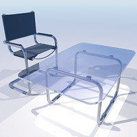 3ds max chrome chair table