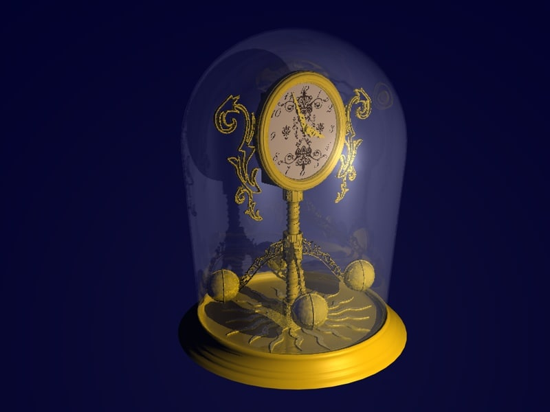 gold clock 3d 3ds