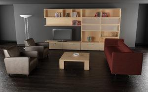 3d model living room 02b