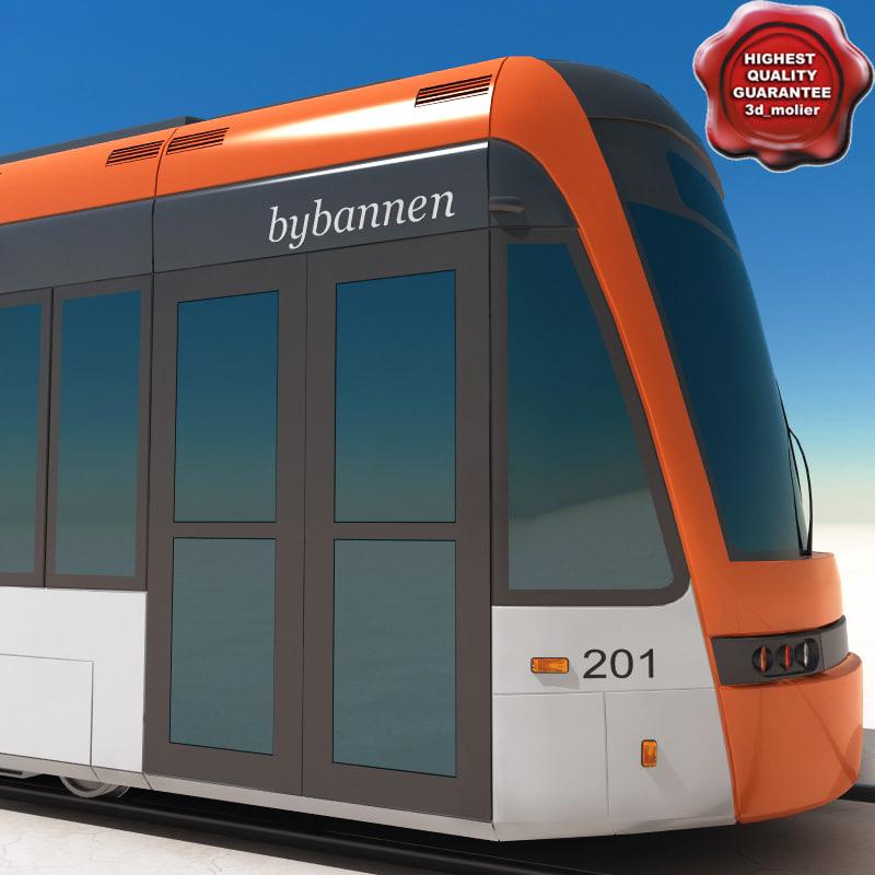 low-floor light rail vehicle 3d 3ds