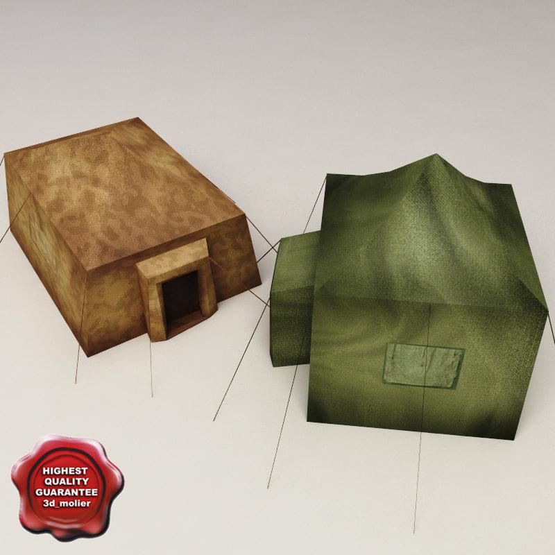 obj military tents v4
