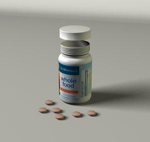 vitamin bottle 3d c4d