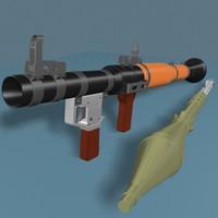 rpg-7 launcher rocket 3d model