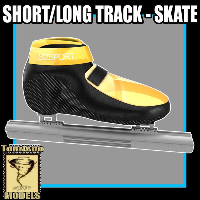 3d model short long track skates