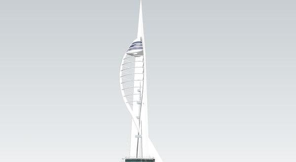 3d model of portsmouth spinnaker tower