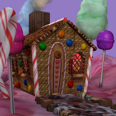 3d model of hansel gretel candy house scene