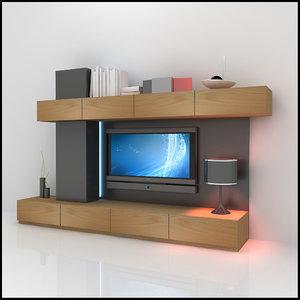 modern tv wall unit 3d 3ds