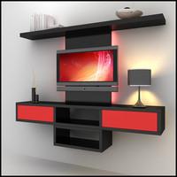 3dsmax modern tv wall unit