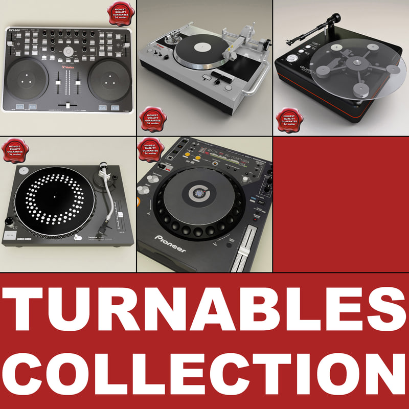 turntables set dj 3d c4d