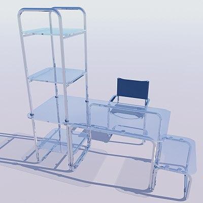 computer chair desk shelves 3d max