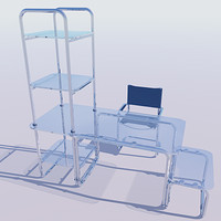 computer chair desk shelves 3d max