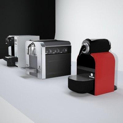 3d model of 3 coffee machines nespresso