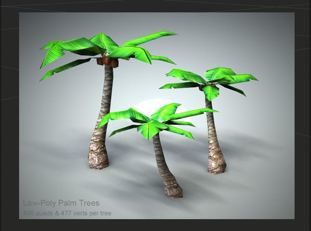 set 3 palm trees 3d 3ds