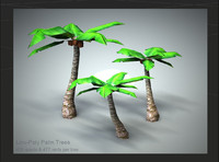 set 3 palm trees 3d 3ds