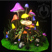 magic mushroom covered tree obj