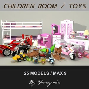 children toys motorcycles 3d max