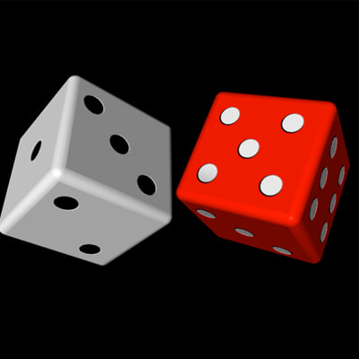 dice red white 3d model